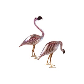 Ducale Murano Art Glass Flamingos Signed - Pair For Sale