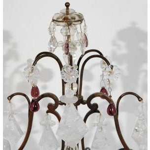 """Pair of 19th c. French Bronze and rock crystal with amethyst drops 19.25""""H 11W"""