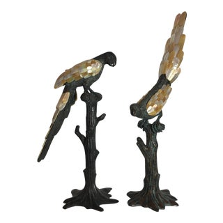 Vintage Bronze Parrot Figurines - A Pair