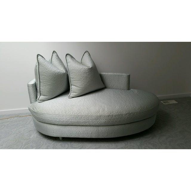 Ice Blue Silk Taffeta Oval Chaise - Image 3 of 3