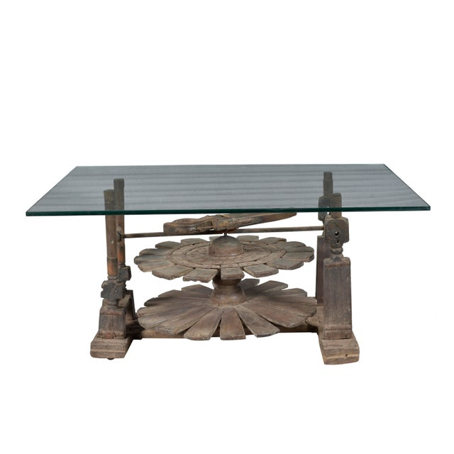 Modern Vintage Charkha Wooden Coffee Table For Sale - Image 3 of 4