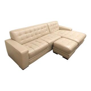 Mid Century Modern White Leather Sofa & Ottoman For Sale