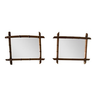 French Bamboo Mirror - Pair For Sale