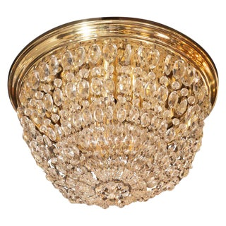 1940s Hollywood Domed Two-Tier Cut Crystal Flush Mount With Circular Brass Base For Sale