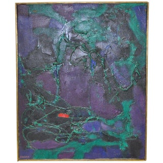Mid-Century Modern Abstract Oil Painting by Kasdan For Sale