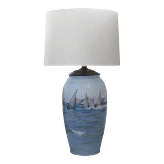 Large Danish Bing & Grondahl Ceramic Table Lamp Painted With Seascape and Mountains For Sale