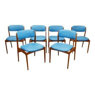 1970s Vintage Danish Modern Teak Dining Chairs- Set of 6 For Sale