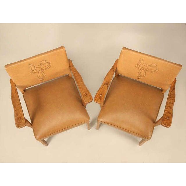 """A. Brandt Ranch Oak Furniture Magnificent Original """"Ranch Oak"""" Cowboy Arm Chairs W/Saddle Decoration - a pair For Sale - Image 4 of 10"""