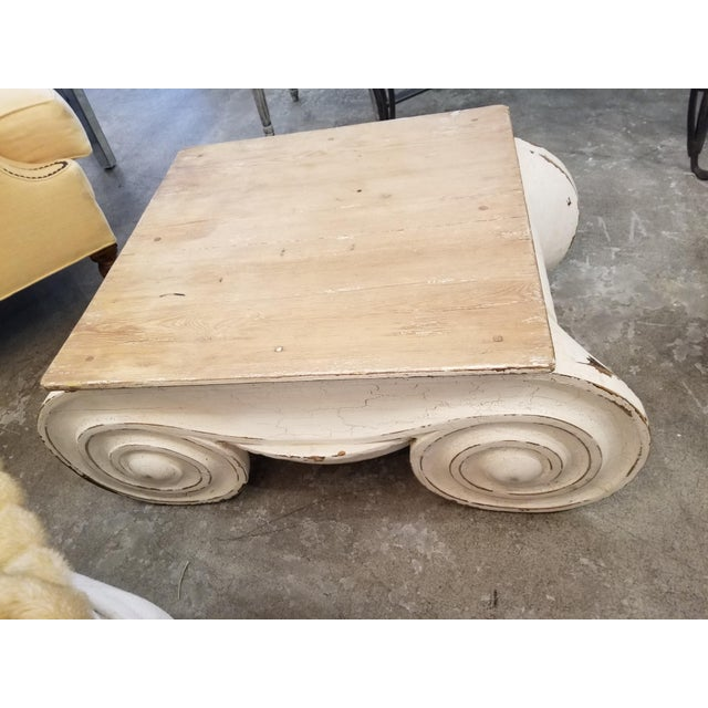 Restoration Hardware Restoration Hardware Distressed Ionic Capital Coffee Table For Sale - Image 4 of 7