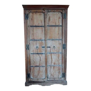 Indian Shesham Wood Rustic Cabinet with Iron Hardware from the 19th Century