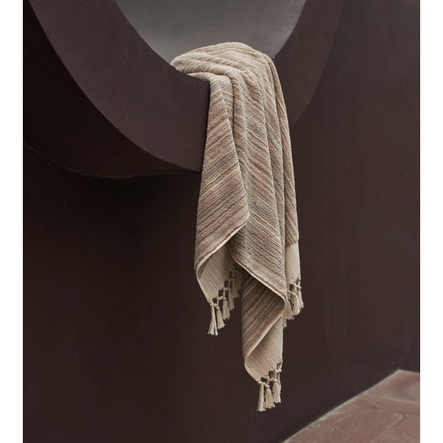 Textile Earth Lines Handmade Organic Cotton Ultra King Bath Towel in Tan For Sale - Image 7 of 10