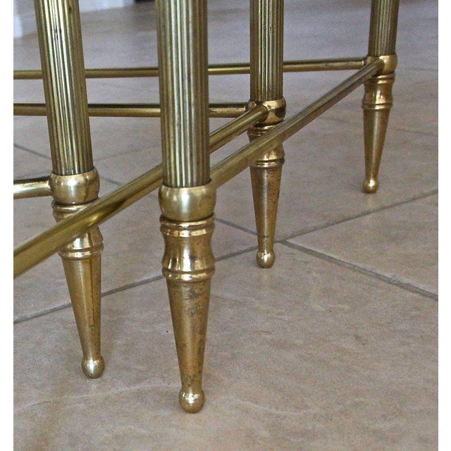 French Bagues Style Brass Nesting Tables - Set of 3 For Sale - Image 10 of 13