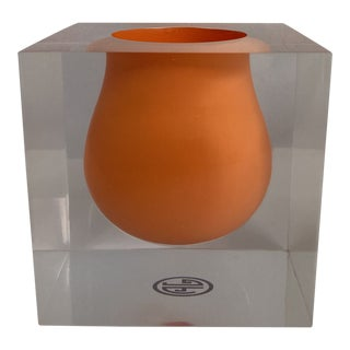 "Orange Jonathan Adler ""Scoop"" Vase in Acrylic For Sale"
