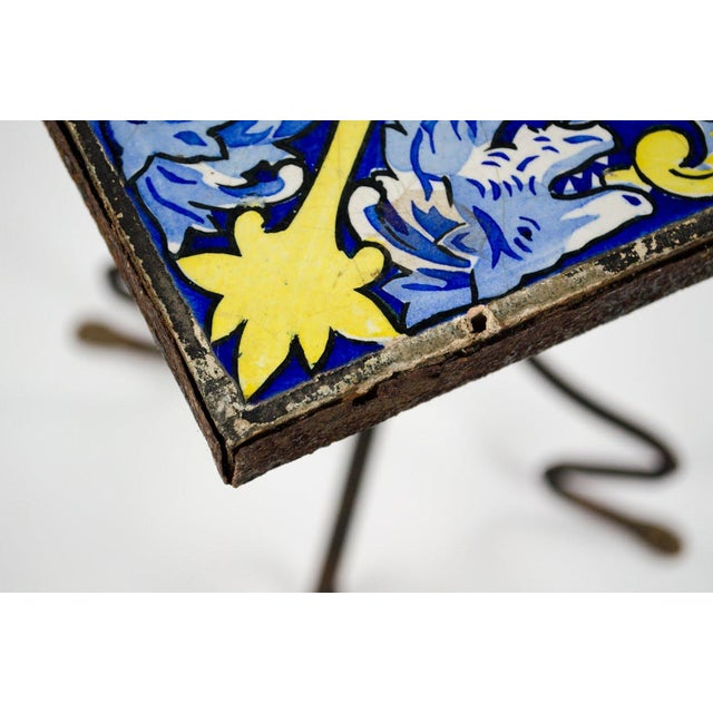 Metal 20th Century Spanish Tile and Iron Side Occasional Table For Sale - Image 7 of 12