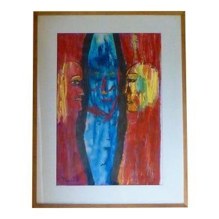 Abstract Faces an Oil Painting by Charles Tullio