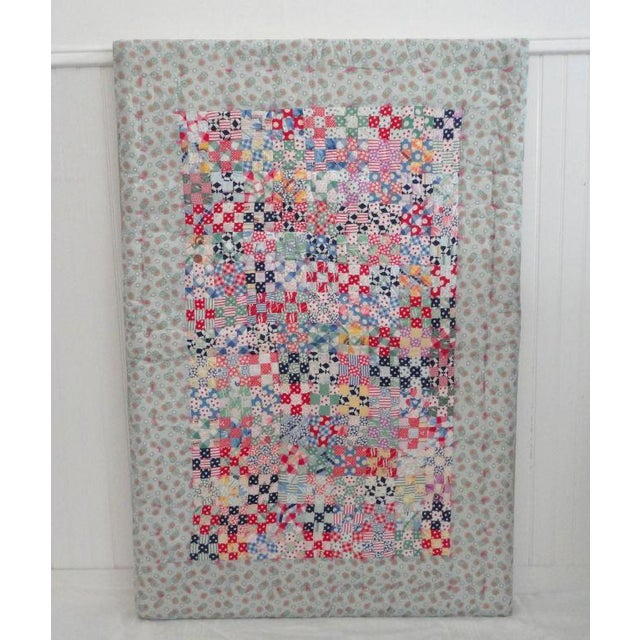 Rustic Fantastic Mounted Postage Stamp Crib Quilt from Pennsylvania For Sale - Image 3 of 7