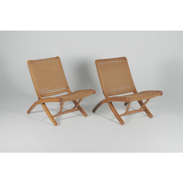 Final Markdown 1960s Hans Wegner Style Folding Rope Lounge Chairs- a Pair For Sale - Image 10 of 10