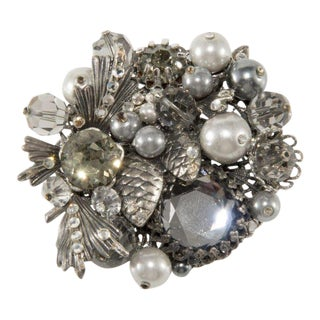 Vendome Smoke Gray Cluster Brooch Pin Unmarked Prototype For Sale
