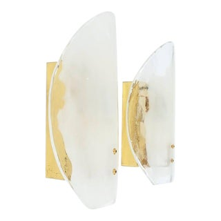 J.T. Kalmar Large Murano Glass and Brass Sconces Wall Lights, Austria 1960 For Sale