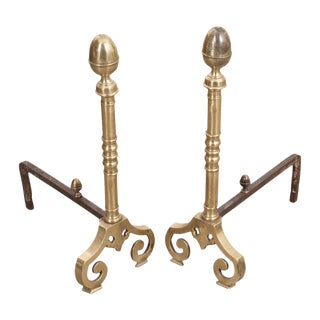 Early 19th Century French Louis XIII Style Irons and Brass Chenets - a Pair For Sale