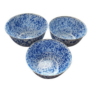Vintage French Blue Splatter Pattern Enamel Bowls - Set of 3