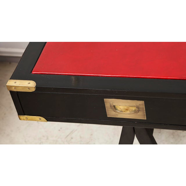 French Ebonized Campaign Desk Red Leather Top And Applied Brass For Sale In New York - Image 6 of 8