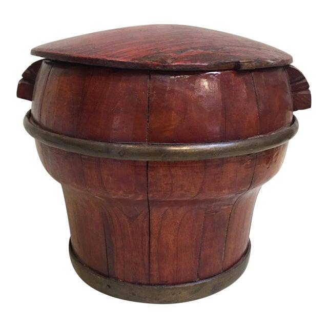 Asian Grain Bucket W/ Lid For Sale