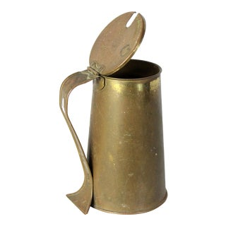 19th Century Antique English Traditional Brass Coffee Pitcher For Sale
