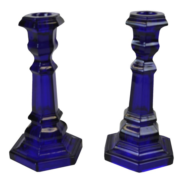 Vintage Cobalt Blue Glass Candle Holders - A Pair For Sale