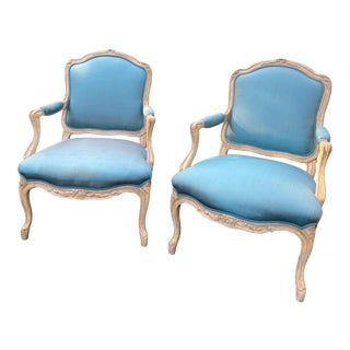 Wood Carved Upholstered Arm Chairs - a Pair For Sale