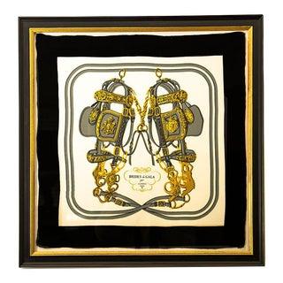1950s Hermès Vintage Brides De Gala Black Silk Pocket Square, Framed For Sale