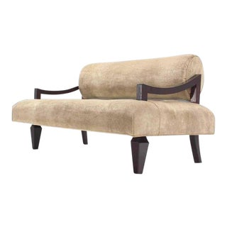 Mid Century Loveseat Settee Newly Upholstered in Camel Mohair For Sale