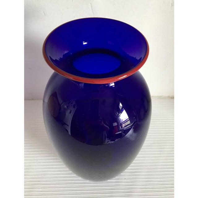 Boho Chic Moving Sale - Tall Cobalt Blue Handblown Art Glass Vase For Sale - Image 3 of 6