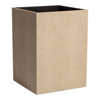 Faux Shagreen Natural Waste Bin For Sale