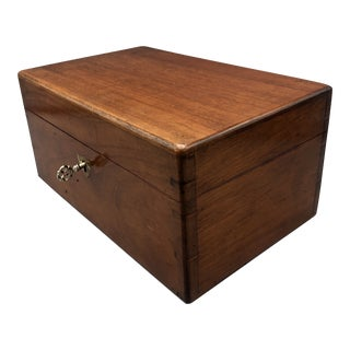 1880's Antique Walnut Dovetail Storage Box With Key For Sale
