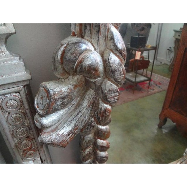 Vintage Serge Roche Inspired Carved Wood Silver Gilt Palm Frond Mirror For Sale In Houston - Image 6 of 12