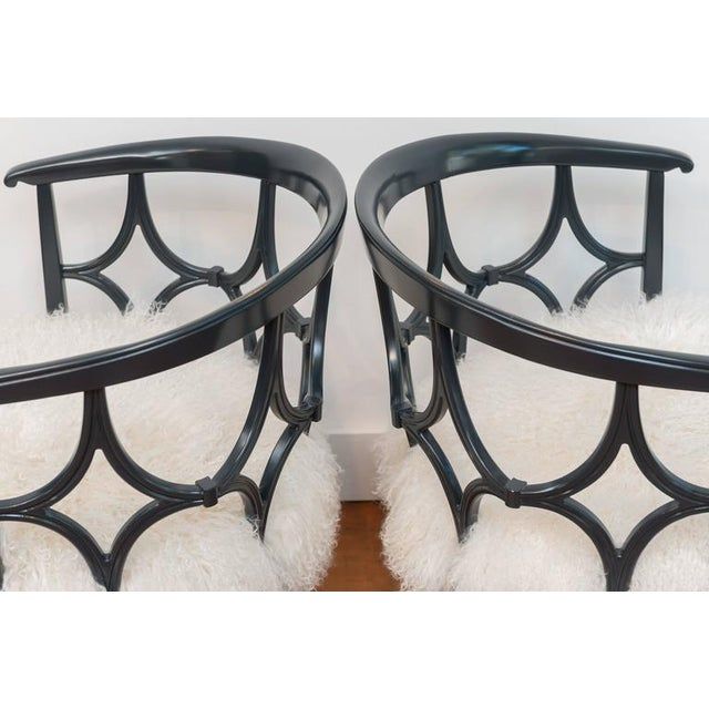 Grey Lacquered Mongolian Sheep Seat Armchairs - a Pair - Image 3 of 9
