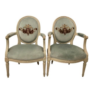 French Louis XVI Painted & Upholstered in Blue Velvet Armchairs - a Pair For Sale