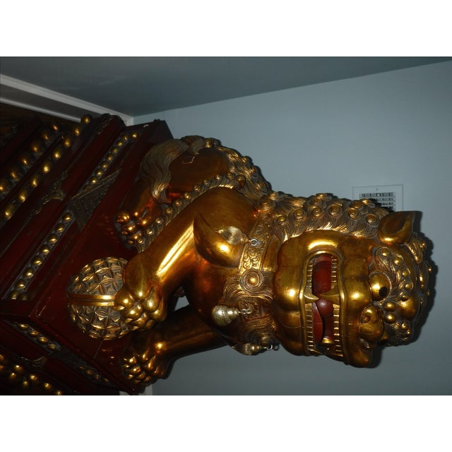5 Feet Tall Hand Carved Wooden Foo Dogs - Pair For Sale - Image 7 of 8