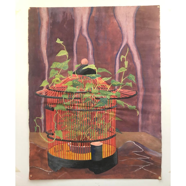 Mystical Birdcage Painting on Paper 1960s For Sale - Image 12 of 12