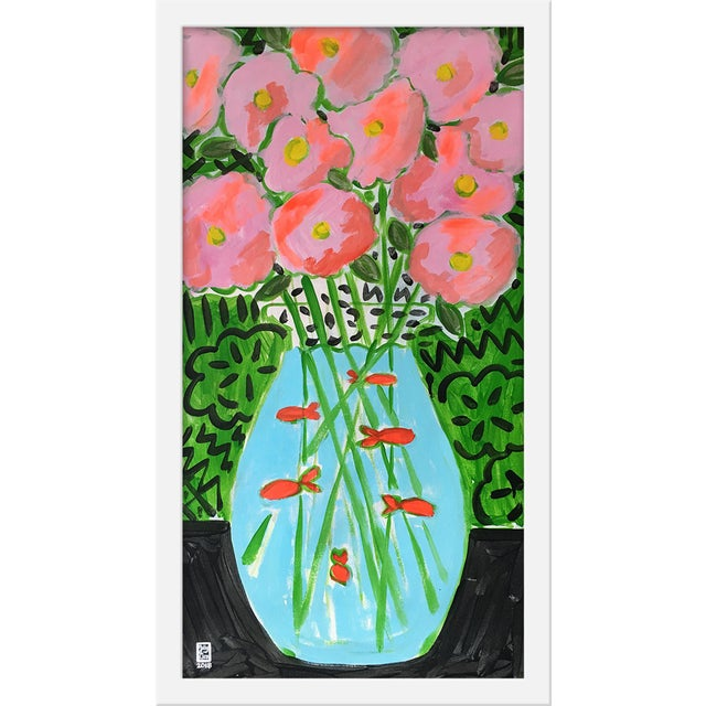 """Contemporary Medium """"Flower Fish Bowl"""" Print by Jelly Chen, 13"""" X 23"""" For Sale - Image 3 of 3"""