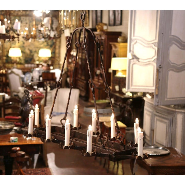 Late 19th Century 19th Century French Gothic Forged Iron Ten-Light Chandelier For Sale - Image 5 of 13