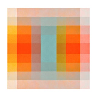 Jessica Poundstone Color Space Series 40: Turquoise Persimmon & Saffron Print For Sale