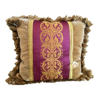 Vertical Vestment Panel Velvet with Silk Back Throw Pillow For Sale