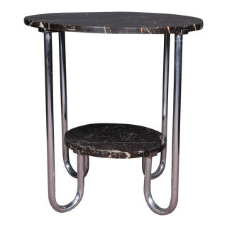 Mid-Century Tubular Occasional Table in Marble and Chrome For Sale
