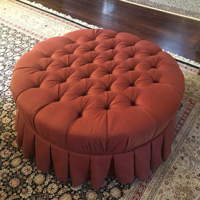 "Ethan Allen 37"" Round Red Tufted Cocktail Ottoman For Sale - Image 10 of 13"