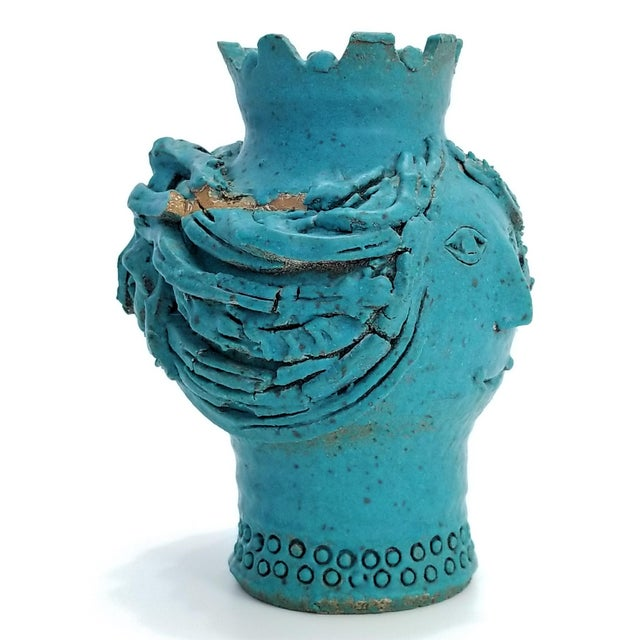 1970s Studio Art Pottery Ceramic Sculpture Blue Vase by Maurice Grossman-Cubist Mid Century Modern Brutalist Boho Face Bust Abstract MCM Art Deco For Sale In Miami - Image 6 of 13