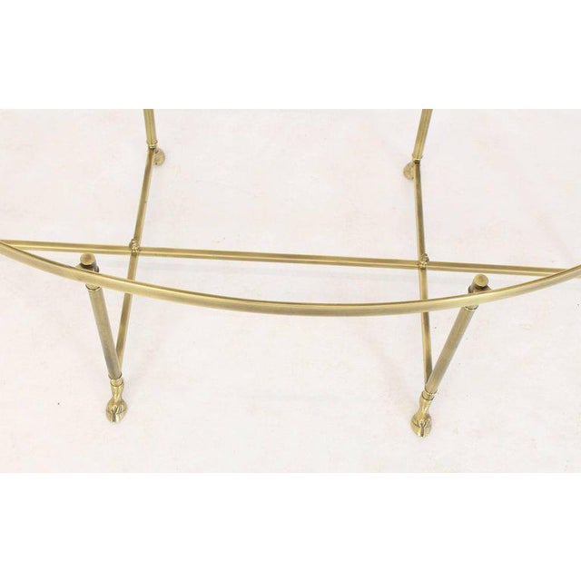 1970s Hollywood Regency Brass Oval Hoof Feet Coffee Table For Sale - Image 4 of 9