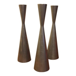 Danish Modern Style Metal Candle Stick Holders - Set of 3 For Sale