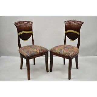 Late 20th Century Vintage French Neoclassical Style Mahogany Shell Fan Back Dining Room Chairs- A Pair Preview